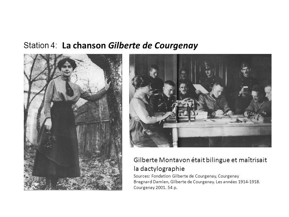 Station 4: La chanson Gilberte de Courgenay Gilberte Montavon était bilingue et maîtrisait la dactylographie Sources: Fondation Gilberte de Courgenay, Courgenay Bregnard Damien, Gilberte de Courgenay.
