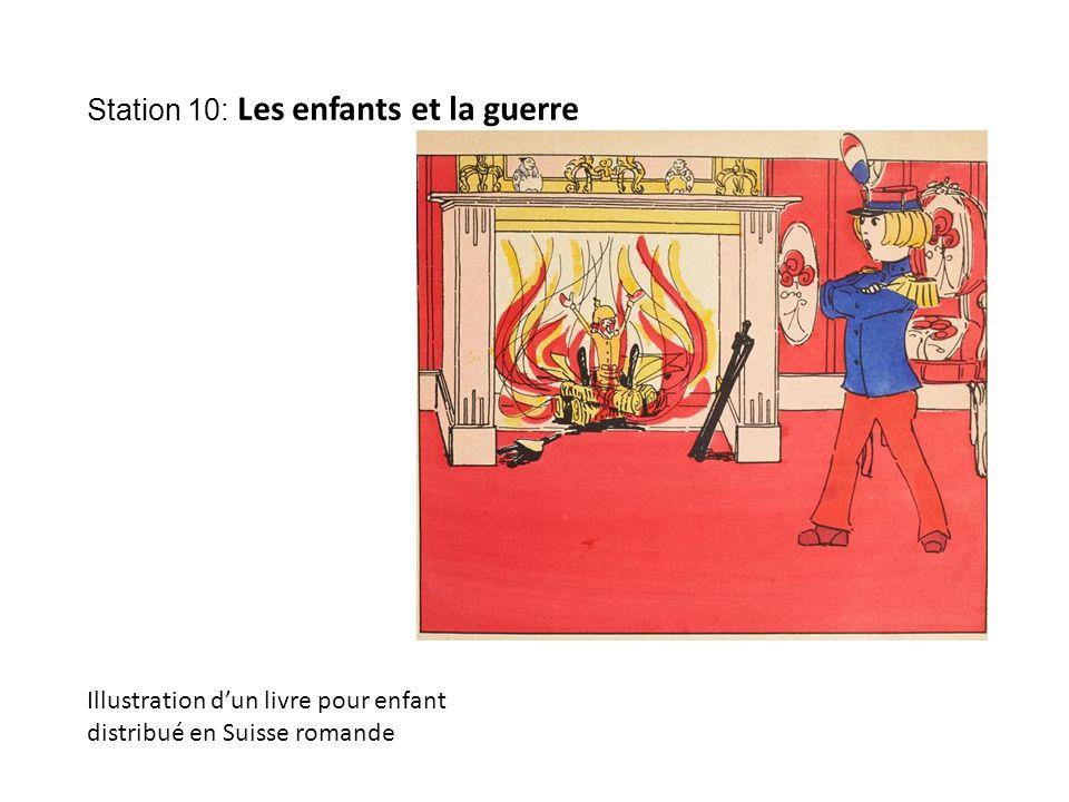 Station 10: Les enfants et la guerre Illustration d'un livre pour enfant distribué en Suisse romande