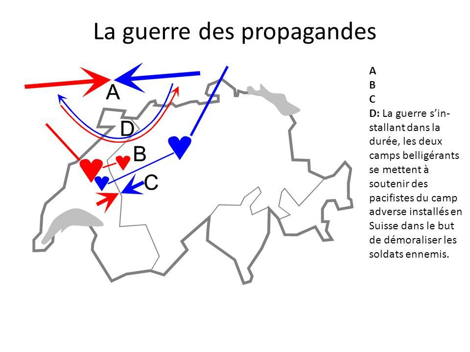 A B C D: La guerre s'in- stallant dans la durée, les deux camps belligérants se mettent à soutenir des pacifistes du camp adverse installés en Suisse dans le but de démoraliser les soldats ennemis.