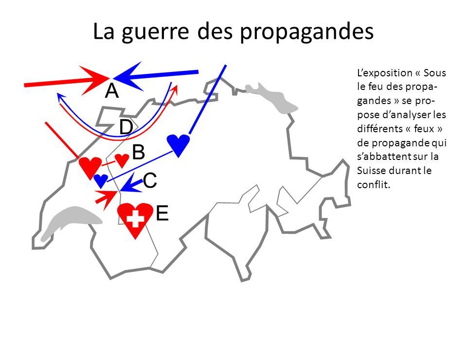 L'exposition « Sous le feu des propa- gandes » se pro- pose d'analyser les différents « feux » de propagande qui s'abbattent sur la Suisse durant le conflit.