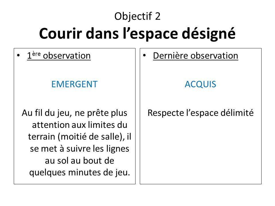 Objectif 2 Courir dans l'espace désigné 1 ère observation EMERGENT Au fil du jeu, ne prête plus attention aux limites du terrain (moitié de salle), il