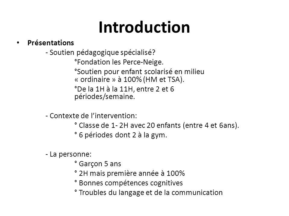 Introduction Problématique - La cadre particulier de la leçon de gym: ° Différent de la classe (moins de structures, consignes orales, beaucoup d'interactions, bruits, espace…moins « gérable » au niveau des aides).