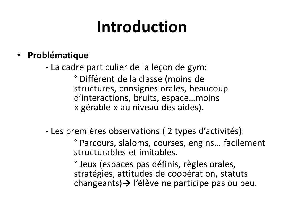 Introduction Problématique - La cadre particulier de la leçon de gym: ° Différent de la classe (moins de structures, consignes orales, beaucoup d'inte