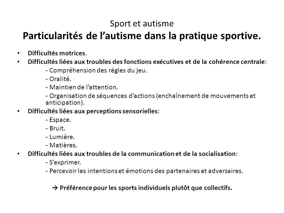Sport et autisme Particularités de l'autisme dans la pratique sportive. Difficultés motrices. Difficultés liées aux troubles des fonctions exécutives