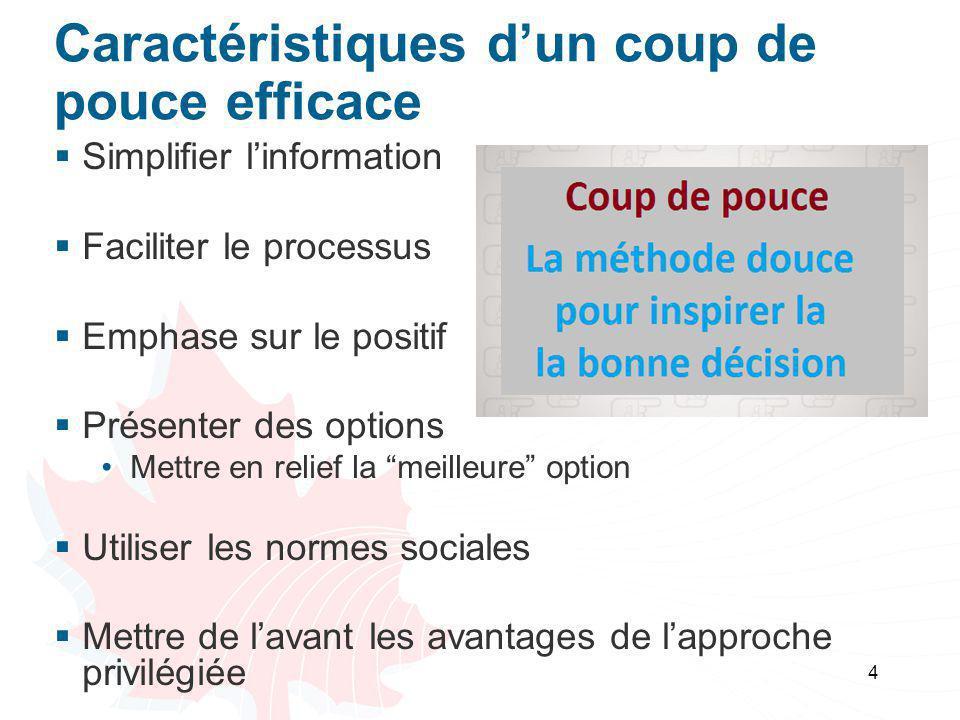 Caractéristiques d'un coup de pouce efficace  Simplifier l'information  Faciliter le processus  Emphase sur le positif  Présenter des options Mett