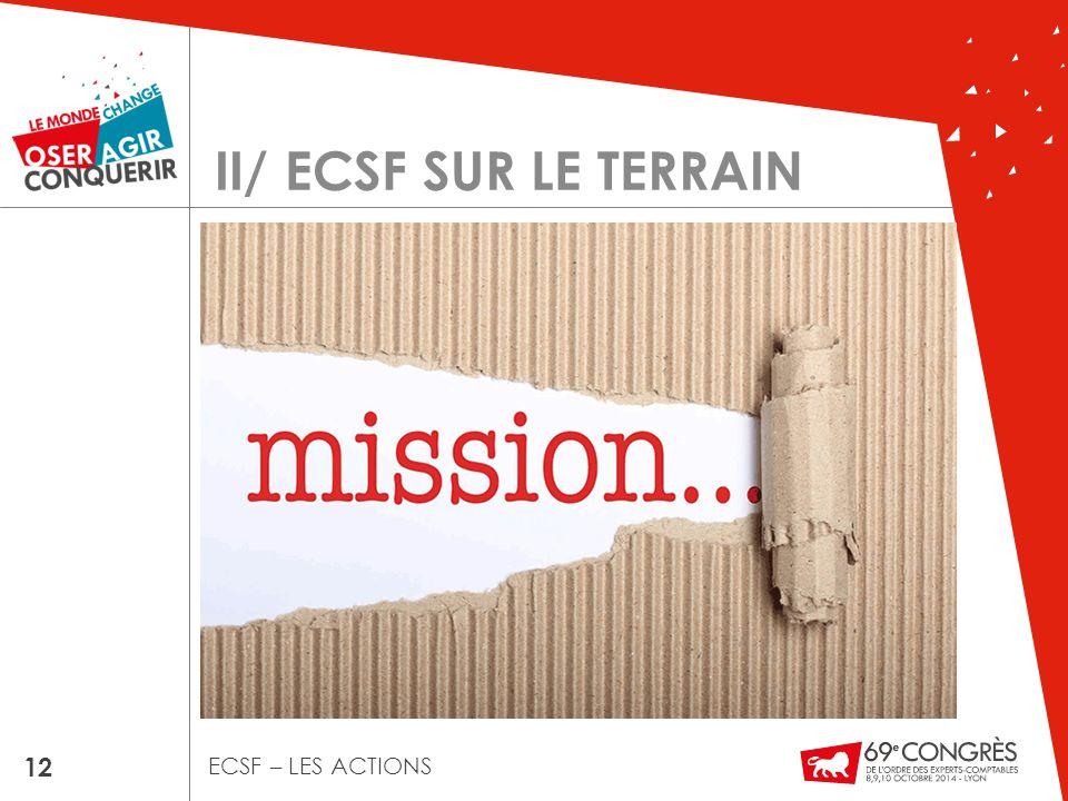 II/ ECSF SUR LE TERRAIN 12 ECSF – LES ACTIONS