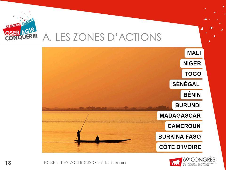 A. LES ZONES D'ACTIONS 13 ECSF – LES ACTIONS > sur le terrain MALI TOGO BÉNIN MADAGASCAR CAMEROUN BURUNDI BURKINA FASO NIGER SÉNÉGAL CÔTE D'IVOIRE