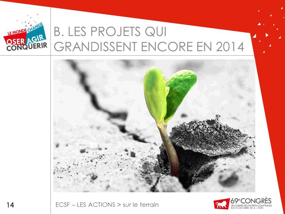 B. LES PROJETS QUI GRANDISSENT ENCORE EN 2014 14 ECSF – LES ACTIONS > sur le terrain
