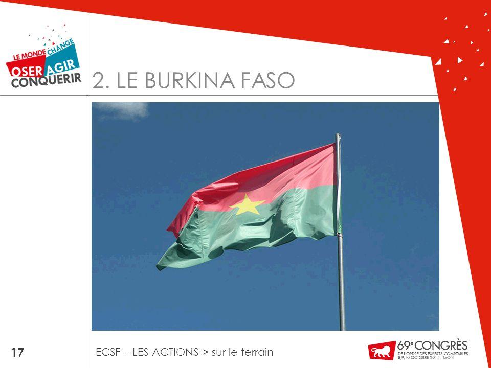 2. LE BURKINA FASO 17 ECSF – LES ACTIONS > sur le terrain