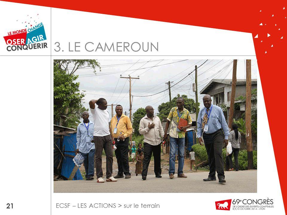3. LE CAMEROUN 21 ECSF – LES ACTIONS > sur le terrain