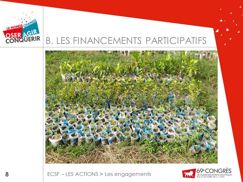 B. LES FINANCEMENTS PARTICIPATIFS 8 ECSF – LES ACTIONS > Les engagements