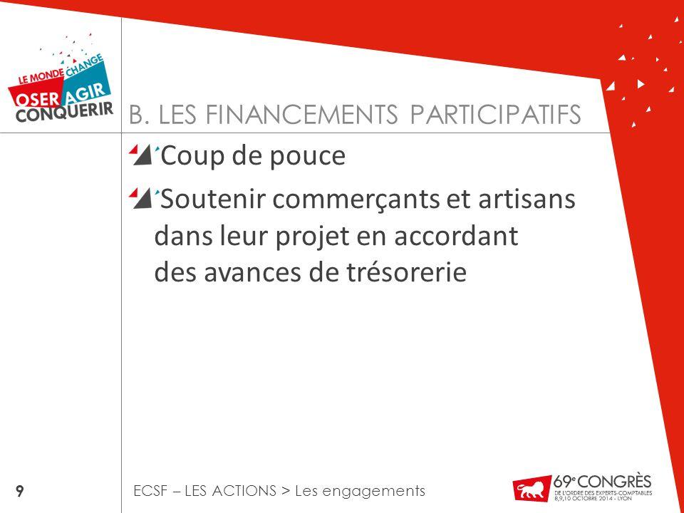 B. LES FINANCEMENTS PARTICIPATIFS Coup de pouce Soutenir commerçants et artisans dans leur projet en accordant des avances de trésorerie 9 ECSF – LES