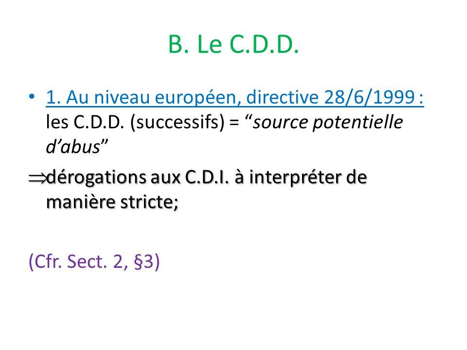 B. Le C.D.D. 1. Au niveau européen, directive 28/6/1999 : les C.D.D.