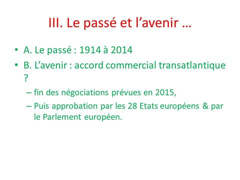 III. Le passé et l'avenir … A. Le passé : 1914 à 2014 B.