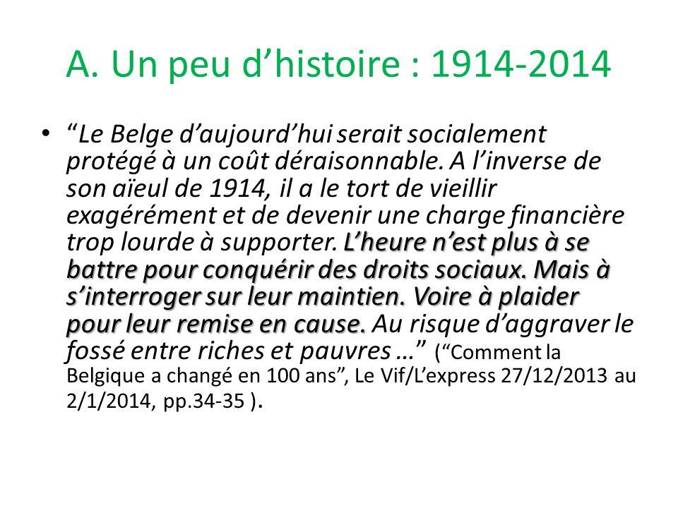 A. Un peu d'histoire : 1914-2014 L'heure n'est plus à se battre pour conquérir des droits sociaux.