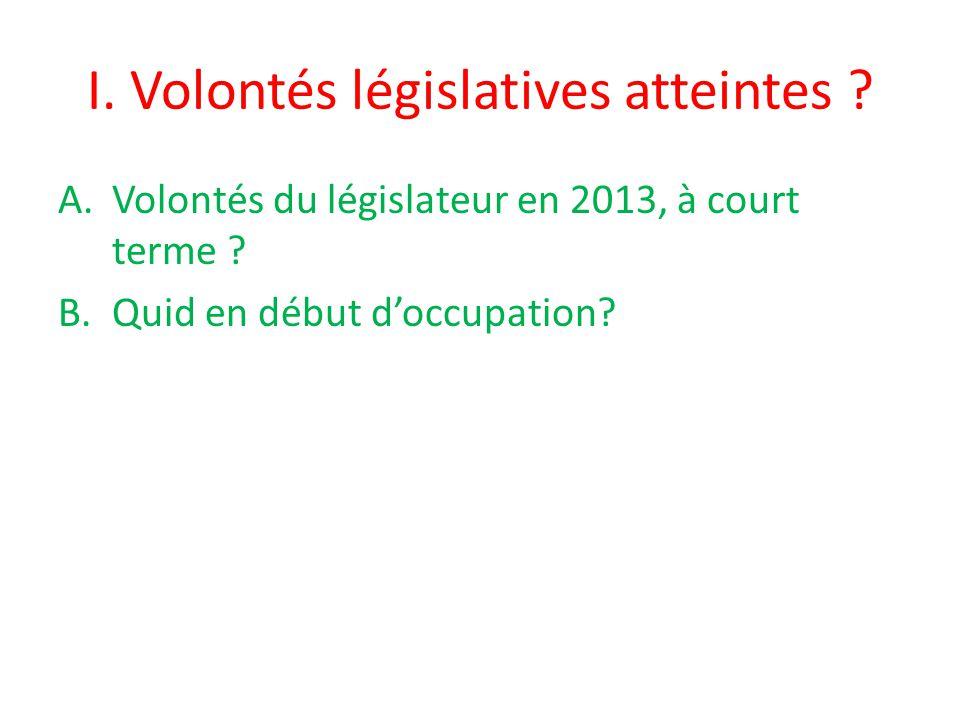 I. Volontés législatives atteintes . A.Volontés du législateur en 2013, à court terme .