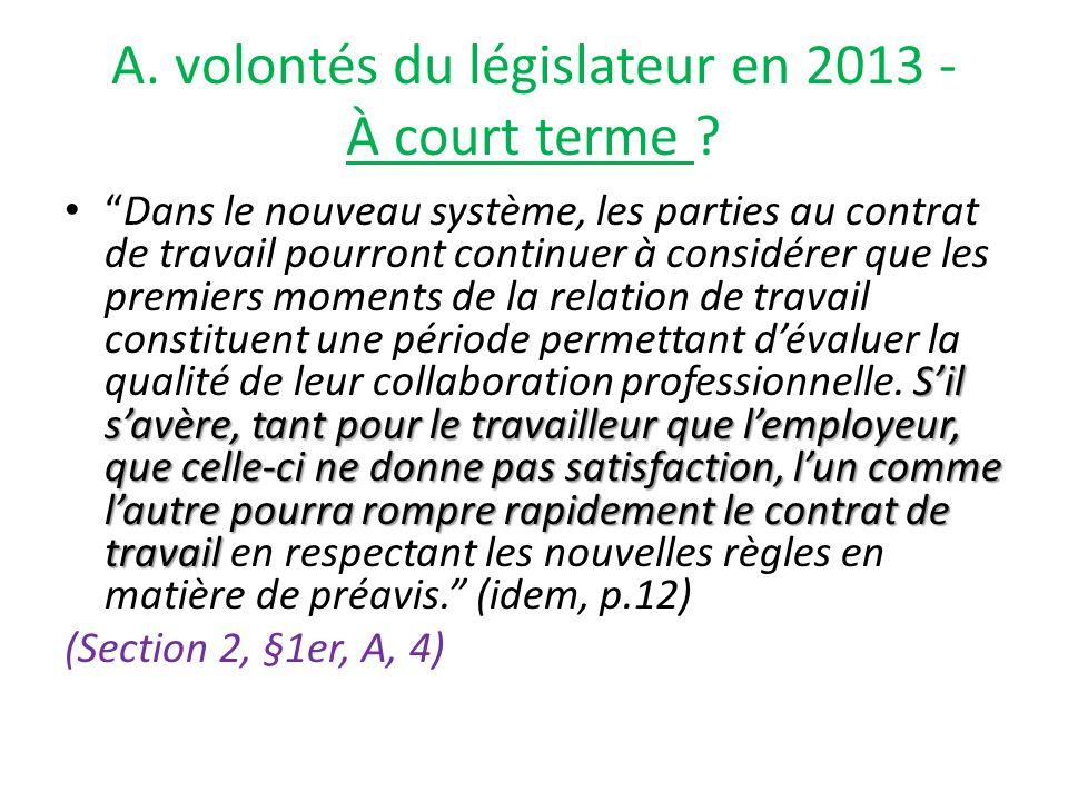 A. volontés du législateur en 2013 - À court terme .
