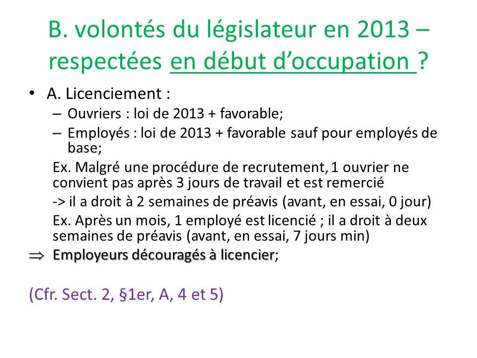 B. volontés du législateur en 2013 – respectées en début d'occupation .