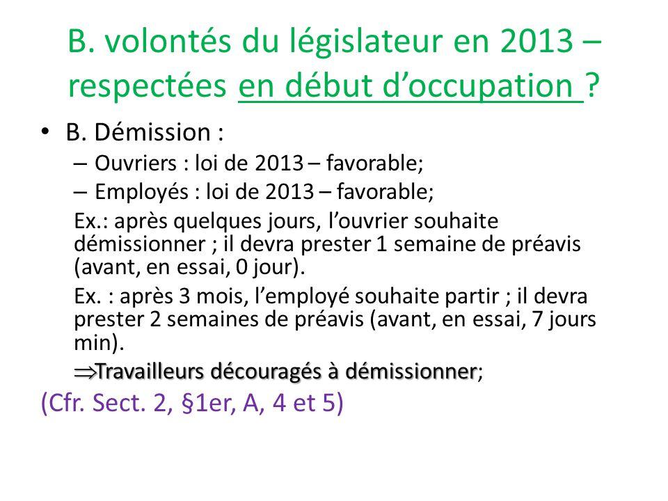 B.volontés du législateur en 2013 - respectées en début d'occupation.