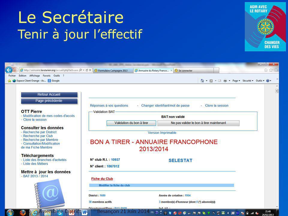 Le Secrétaire Tenir à jour l'effectif 11 RD 1680 Assemblée DistrictBesançon 21 Juin 2014