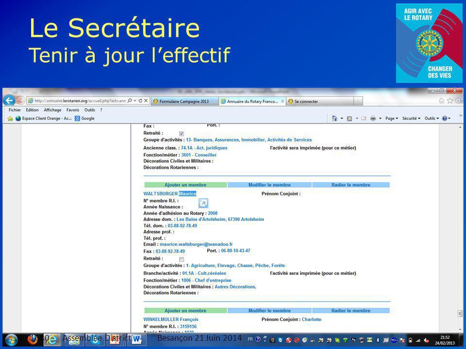Le Secrétaire Tenir à jour l'effectif 12 RD 1680 Assemblée DistrictBesançon 21 Juin 2014