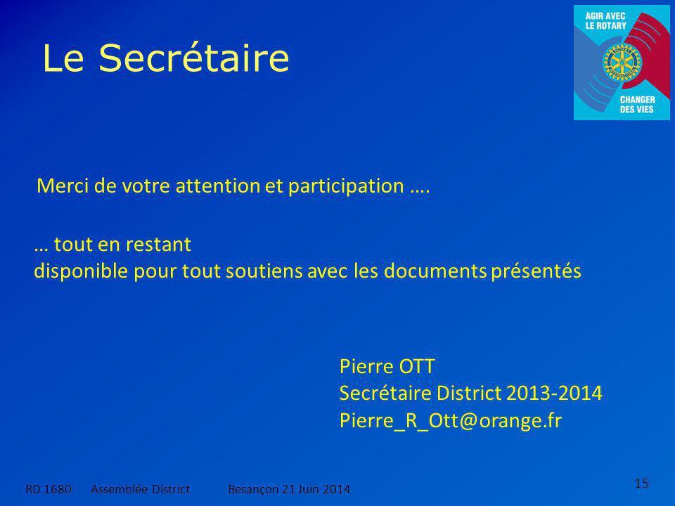 Le Secrétaire 15 … tout en restant disponible pour tout soutiens avec les documents présentés Merci de votre attention et participation ….