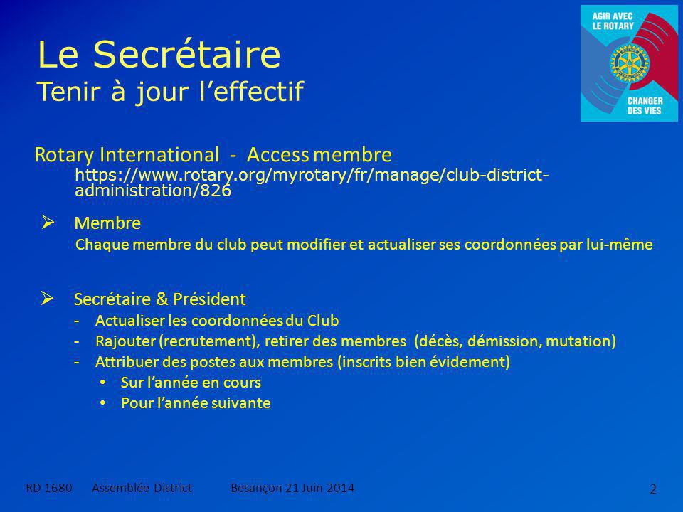 2 Le Secrétaire Tenir à jour l'effectif Rotary International - Access membre https://www.rotary.org/myrotary/fr/manage/club-district- administration/8