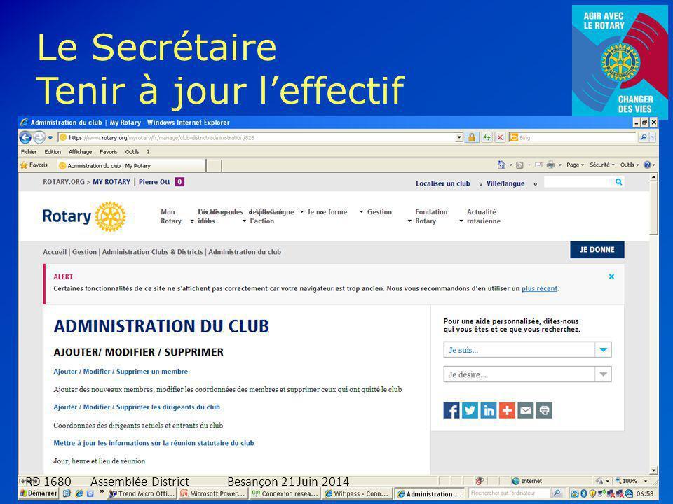 5 Le Secrétaire Tenir à jour l'effectif RD 1680 Assemblée DistrictBesançon 21 Juin 2014