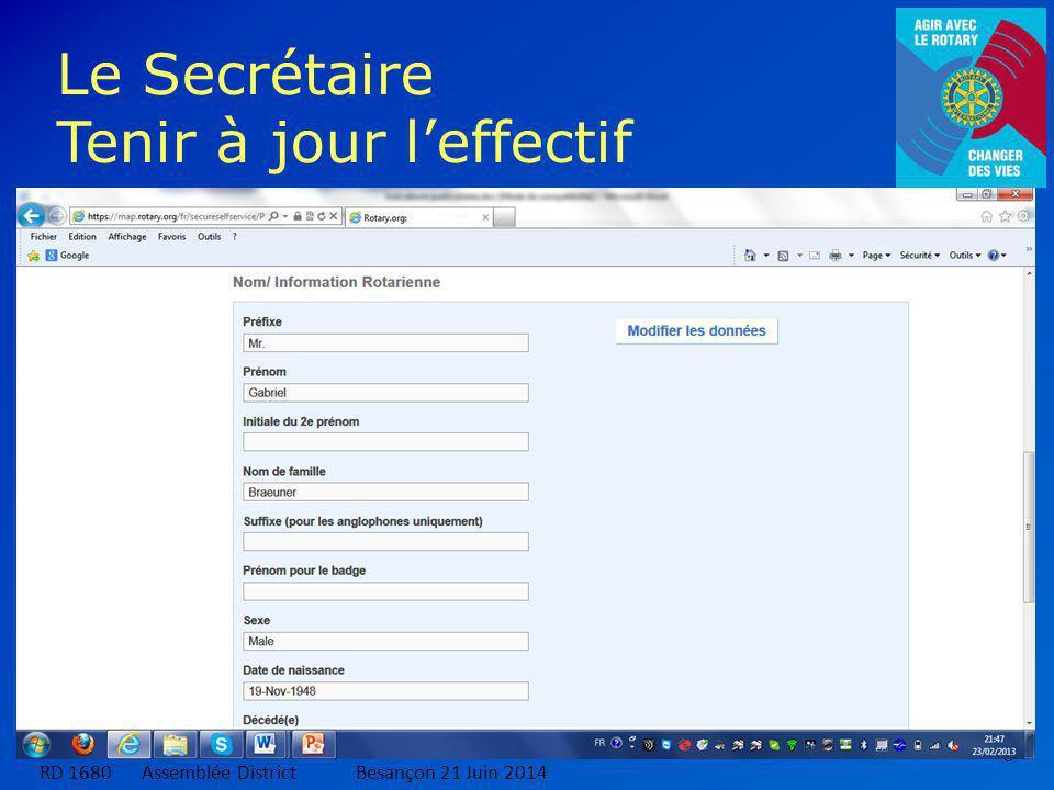 6 Le Secrétaire Tenir à jour l'effectif RD 1680 Assemblée DistrictBesançon 21 Juin 2014