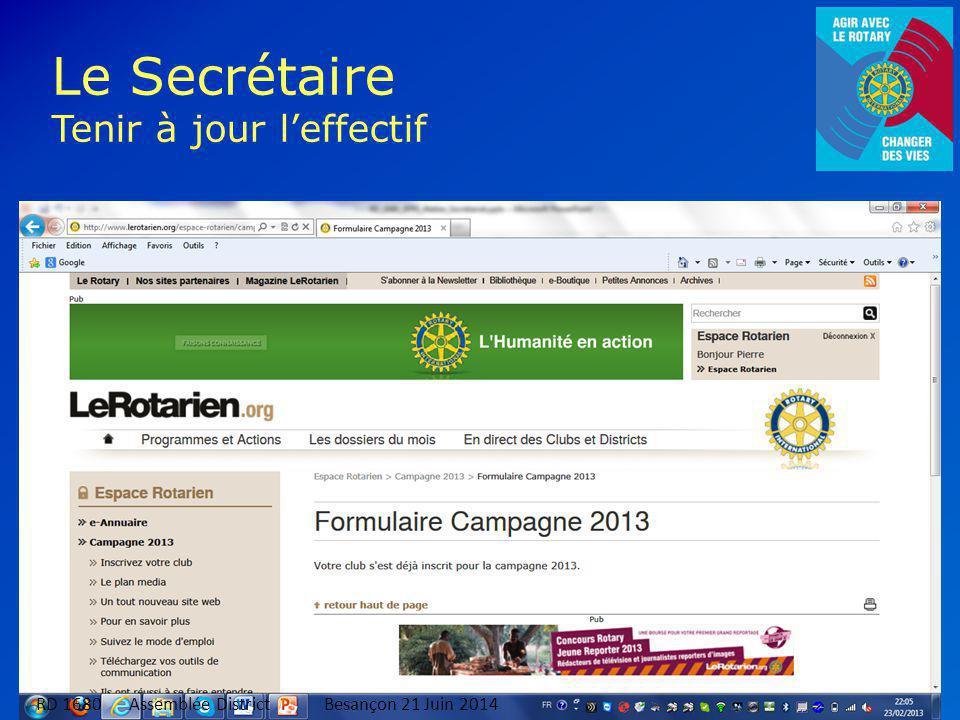 10 Le Secrétaire Tenir à jour l'effectif RD 1680 Assemblée DistrictBesançon 21 Juin 2014