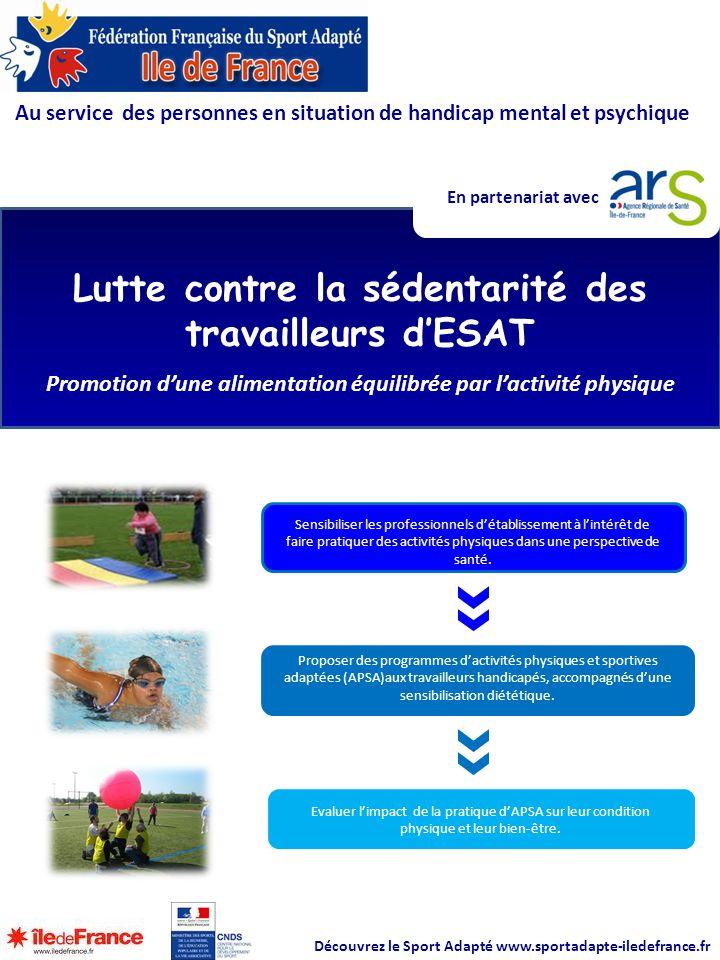 Au service des personnes en situation de handicap mental et psychique Lutte contre la sédentarité des travailleurs d'ESAT Promotion d'une alimentation