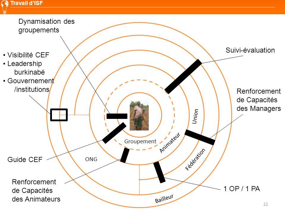 22 Travail d'ISF Groupement Animateur Union Fédération Bailleur ONG Suivi-évaluation Renforcement de Capacités des Managers Renforcement de Capacités