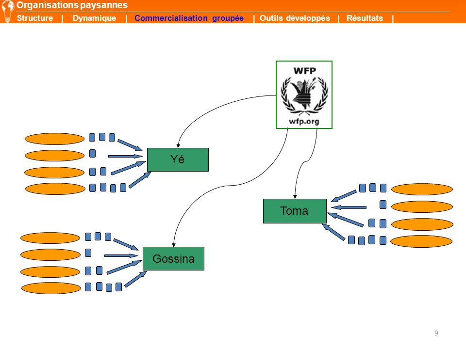 9 Organisations paysannes Yé Toma Gossina Structure | Dynamique | Commercialisation groupée | Outils développés | Résultats |