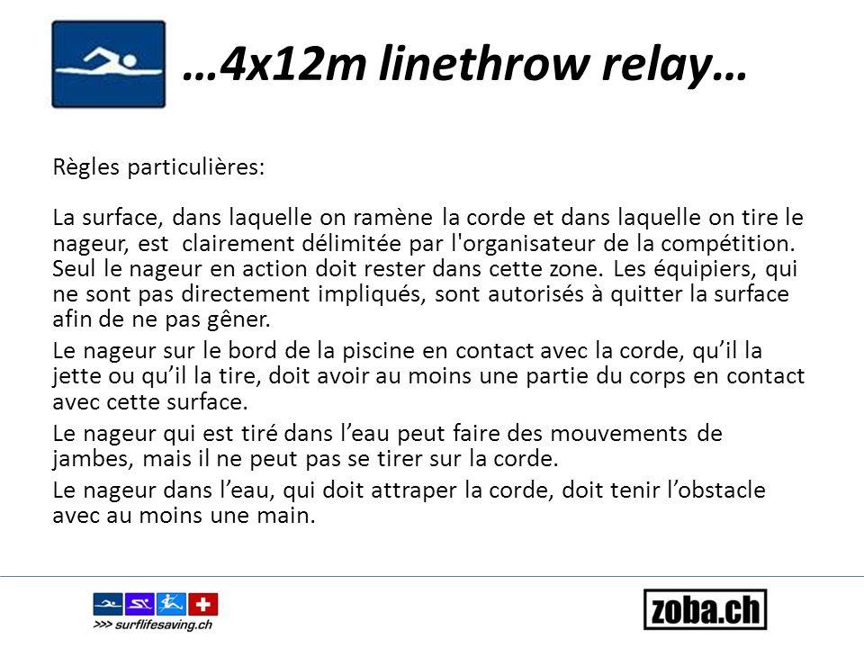 …4x12m linethrow relay… Règles particulières: La surface, dans laquelle on ramène la corde et dans laquelle on tire le nageur, est clairement délimité