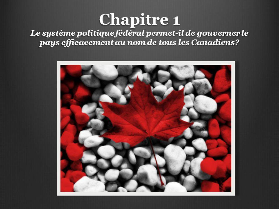 Chapitre 1 Le système politique fédéral permet-il de gouverner le pays efficacement au nom de tous les Canadiens?