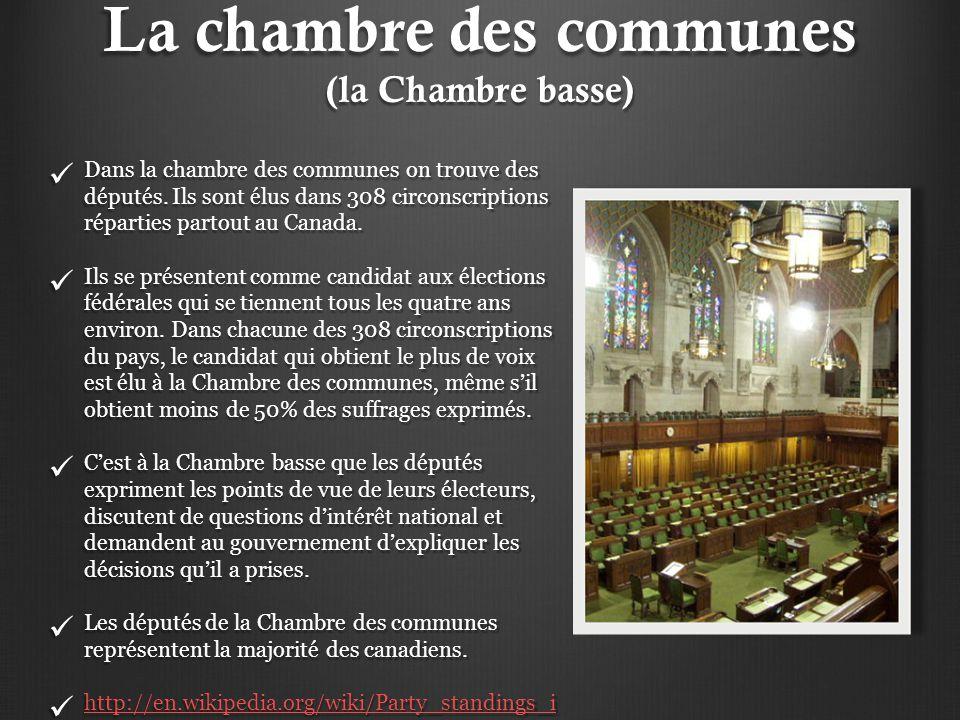 La chambre des communes (la Chambre basse) Dans la chambre des communes on trouve des députés. Ils sont élus dans 308 circonscriptions réparties parto