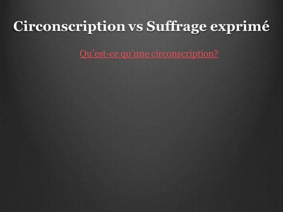 Circonscription vs Suffrage exprimé Qu'est-ce qu'une circonscription?
