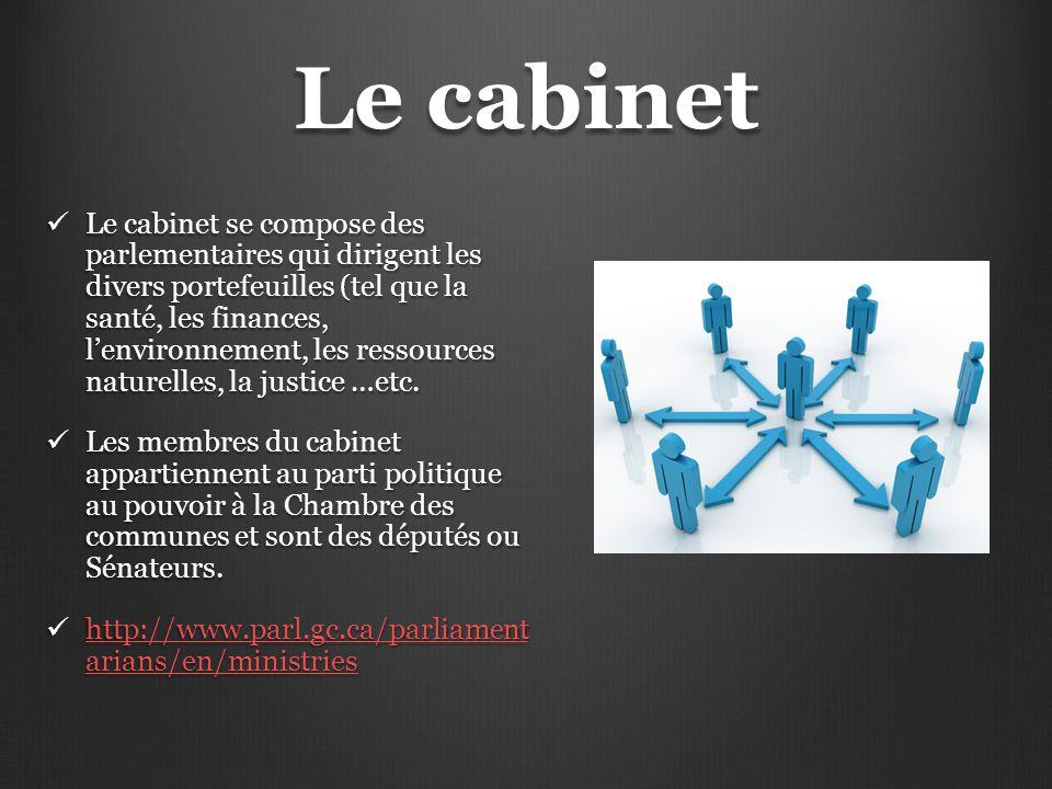 Le cabinet Le cabinet se compose des parlementaires qui dirigent les divers portefeuilles (tel que la santé, les finances, l'environnement, les ressou
