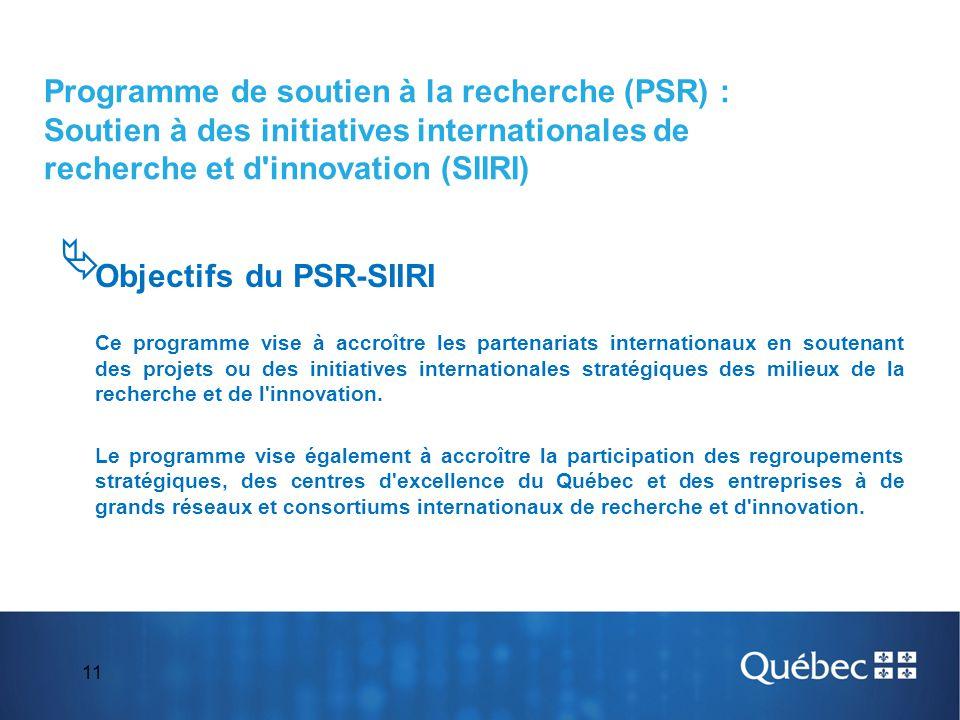11  Objectifs du PSR-SIIRI Ce programme vise à accroître les partenariats internationaux en soutenant des projets ou des initiatives internationales