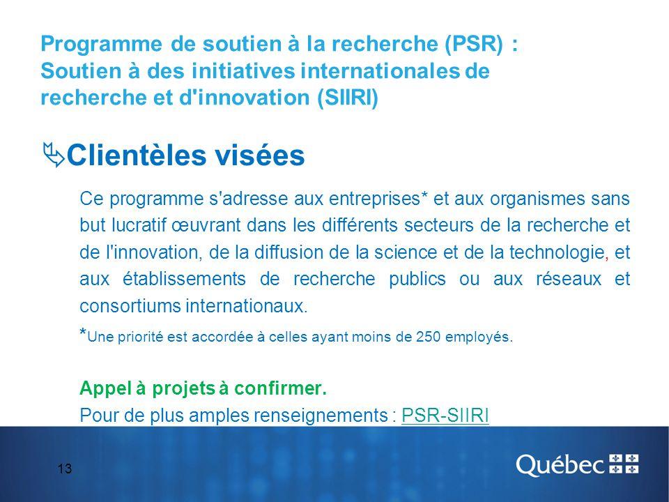 13 Programme de soutien à la recherche (PSR) : Soutien à des initiatives internationales de recherche et d'innovation (SIIRI)  Clientèles visées Ce p