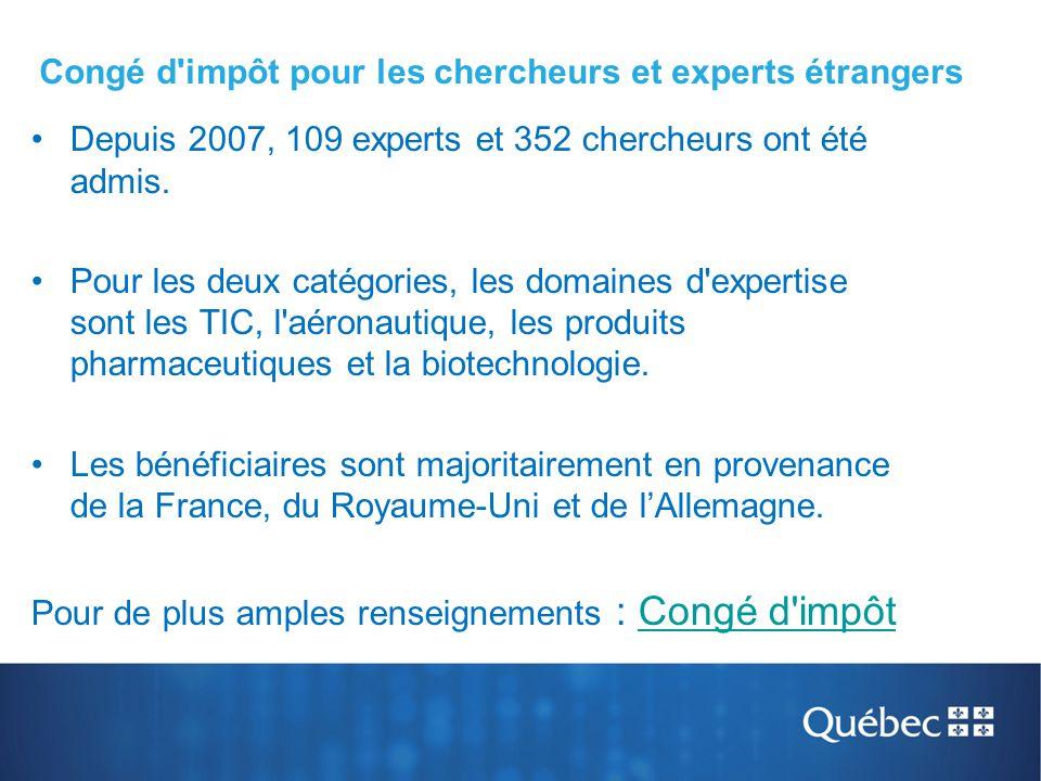 Depuis 2007, 109 experts et 352 chercheurs ont été admis. Pour les deux catégories, les domaines d'expertise sont les TIC, l'aéronautique, les produit