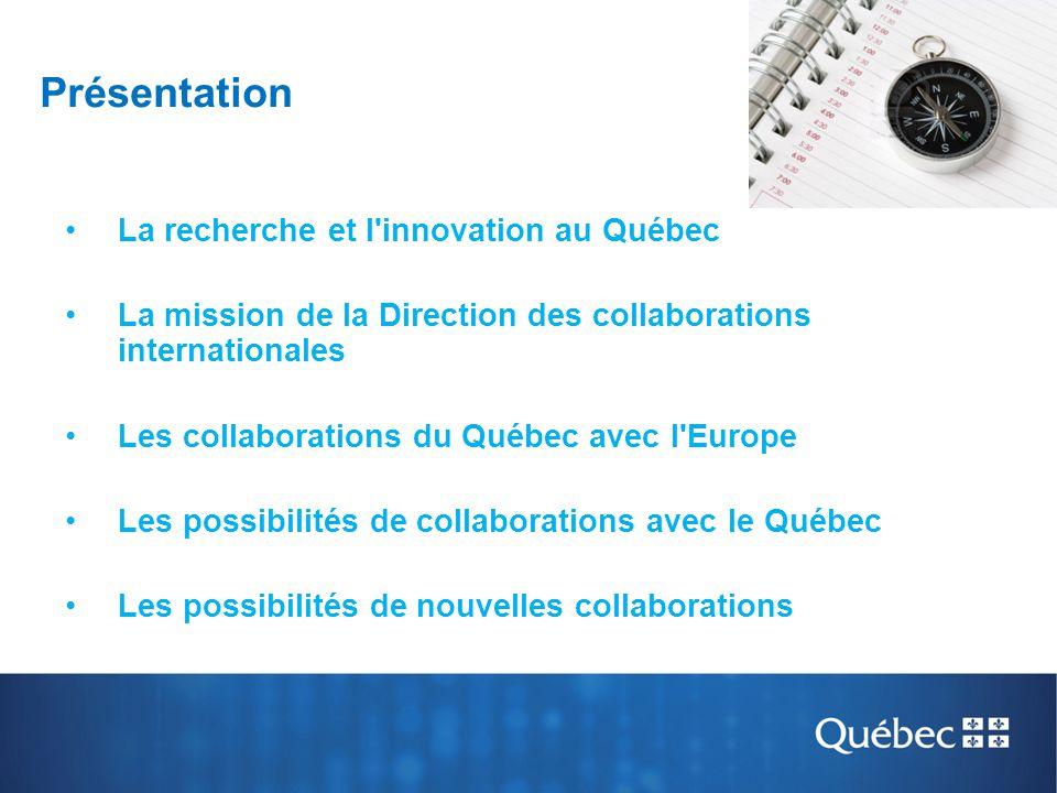 Présentation La recherche et l'innovation au Québec La mission de la Direction des collaborations internationales Les collaborations du Québec avec l'