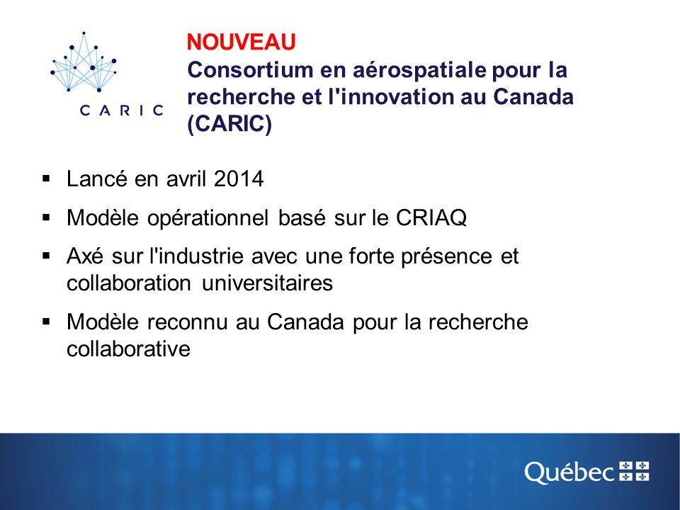  Lancé en avril 2014  Modèle opérationnel basé sur le CRIAQ  Axé sur l'industrie avec une forte présence et collaboration universitaires  Modèle r