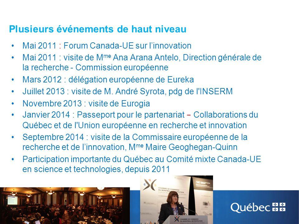 Plusieurs événements de haut niveau Mai 2011 : Forum Canada-UE sur l'innovation Mai 2011 : visite de M me Ana Arana Antelo, Direction générale de la r