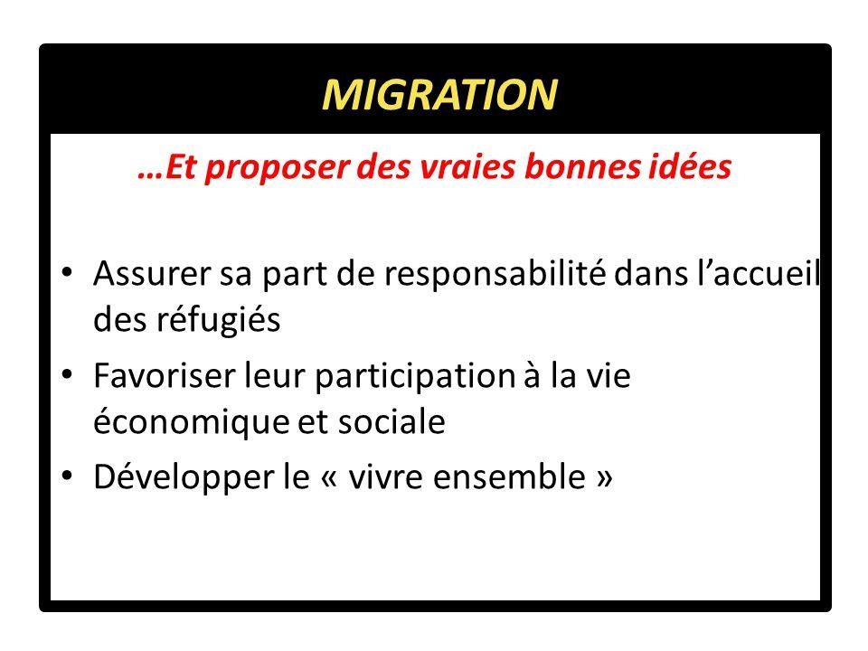 Assurer sa part de responsabilité dans l'accueil des réfugiés Favoriser leur participation à la vie économique et sociale Développer le « vivre ensemble » …Et proposer des vraies bonnes idées MIGRATION