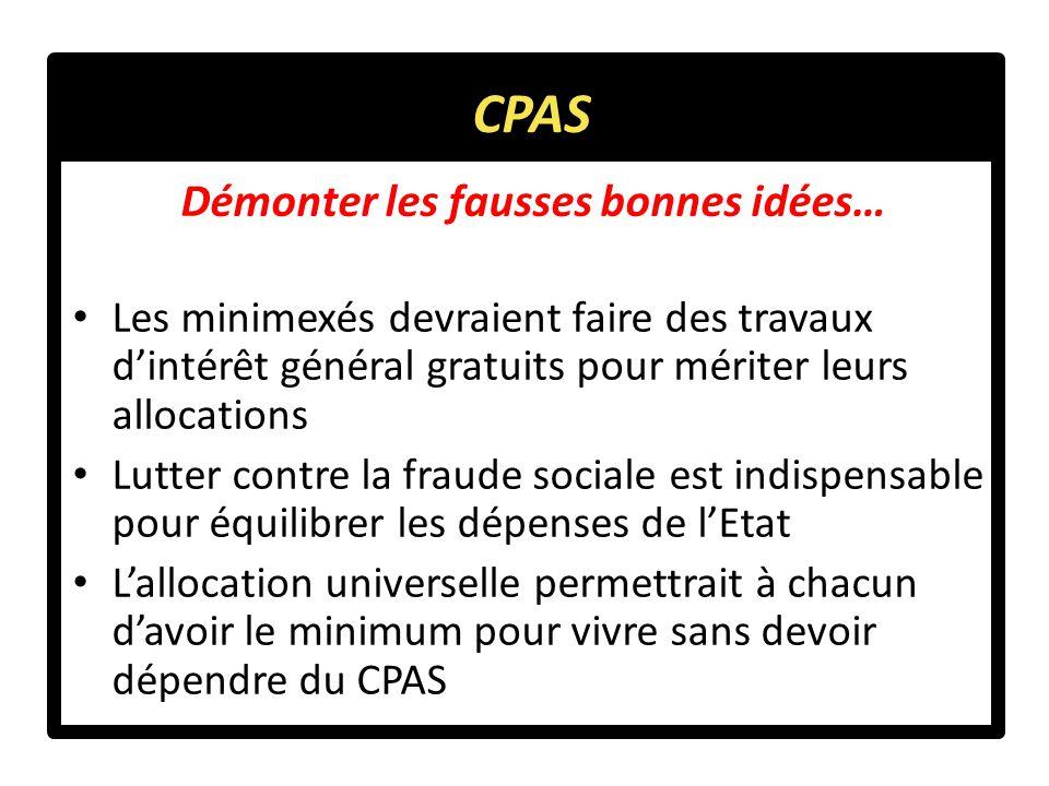 Démonter les fausses bonnes idées… Les minimexés devraient faire des travaux d'intérêt général gratuits pour mériter leurs allocations Lutter contre la fraude sociale est indispensable pour équilibrer les dépenses de l'Etat L'allocation universelle permettrait à chacun d'avoir le minimum pour vivre sans devoir dépendre du CPAS CPAS
