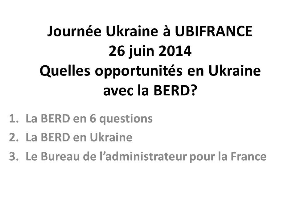 Journée Ukraine à UBIFRANCE 26 juin 2014 Quelles opportunités en Ukraine avec la BERD.