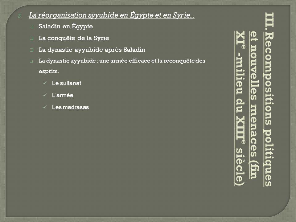 2. La réorganisation ayyubide en Égypte et en Syrie..  Saladin en Égypte  La conquête de la Syrie  La dynastie ayyubide après Saladin  La dynastie