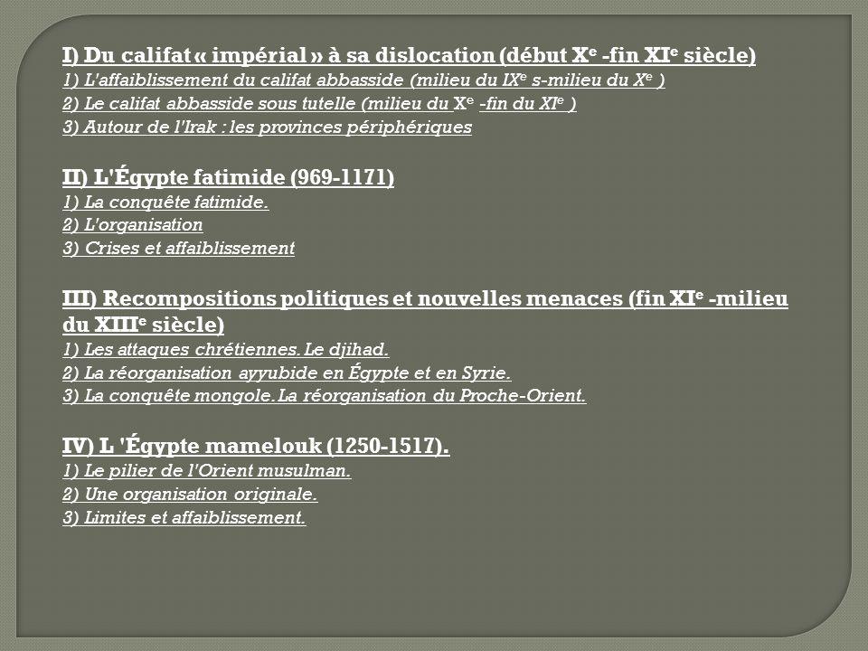 I) Du califat « impérial » à sa dislocation (début X e -fin XI e siècle) 1) L'affaiblissement du califat abbasside (milieu du IX e s-milieu du X e ) 2