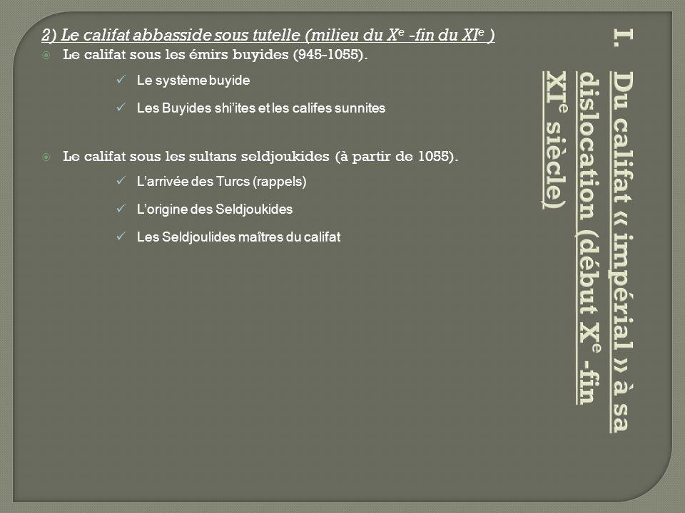 2) Le califat abbasside sous tutelle (milieu du X e -fin du XI e )  Le califat sous les émirs buyides (945-1055). Le système buyide Les Buyides shi'i